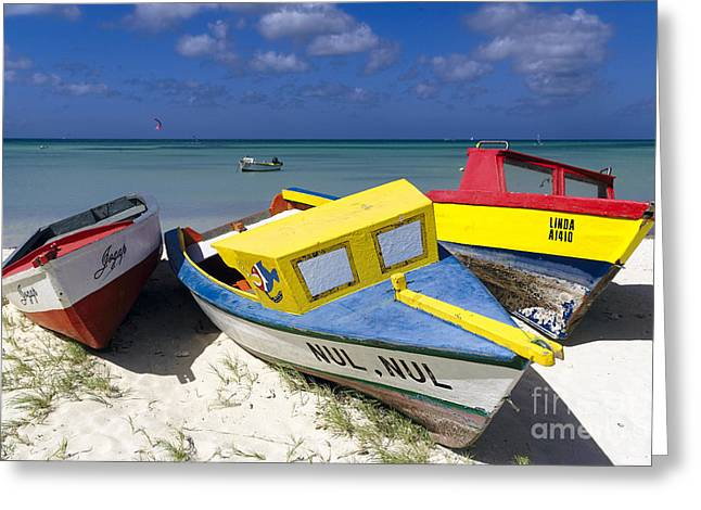 Three Colorful Fishing Boats On The Dunes Greeting Card by George Oze