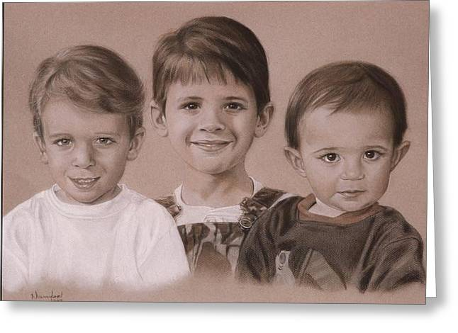 Photorealism Pastels Greeting Cards - Three cousins Greeting Card by Nanybel Salazar