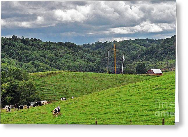 Three Crosses On The Farm Greeting Card by Lydia Holly