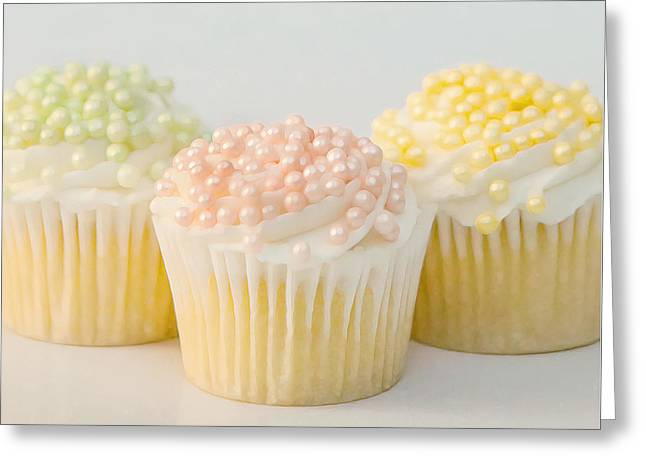 Frosting Greeting Cards - Three Cupcakes Greeting Card by Art Block Collections