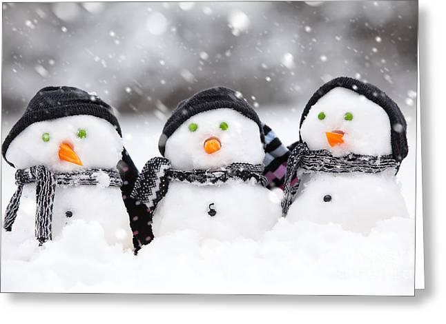 Winter Storm Greeting Cards - Three cute snowmen Greeting Card by Simon Bratt Photography LRPS
