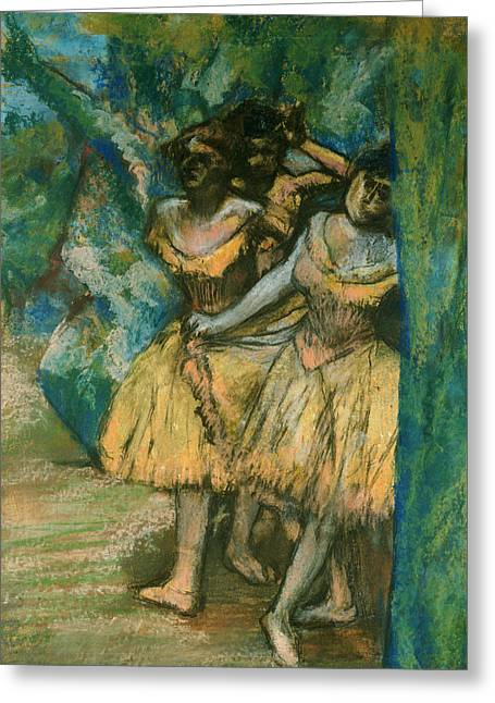 Three Dancers With A Backdrop Of Trees And Rocks Greeting Card by Edgar Degas