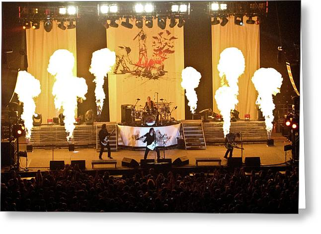 Indiana Flowers Greeting Cards - Three Days Grace On Fire Greeting Card by Amber Flowers