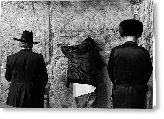 Three Different Selichot Prayers At The Kotel Greeting Card by Yoel Koskas
