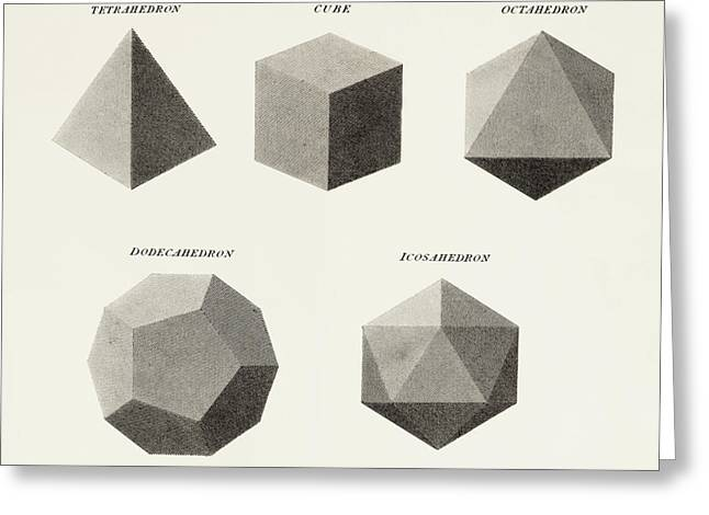 Dodecahedron Greeting Cards - Three Dimensional Geometric Shapes Greeting Card by Ken Welsh