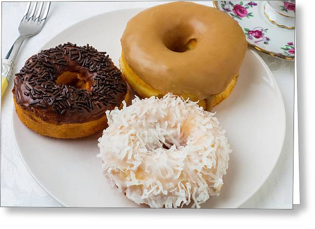 Three Donuts Greeting Card by Garry Gay