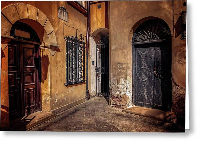 Three Doors In Warsaw Greeting Card by Carol Japp