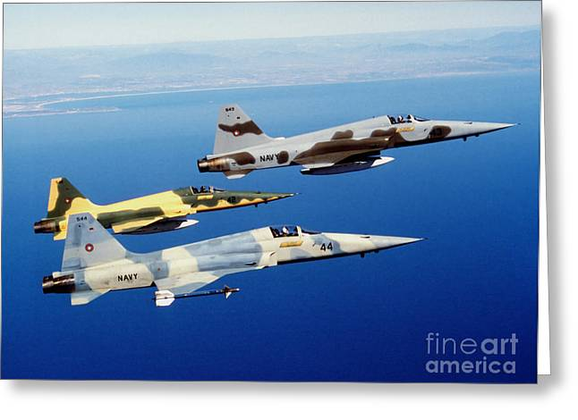 The Tiger Greeting Cards - Three F-5e Tiger Ii Fighter Aircraft Greeting Card by Dave Baranek