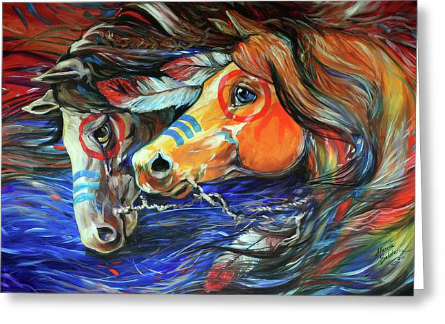 Western Abstract Greeting Cards - Three Feathers Indian War Ponies Greeting Card by Marcia Baldwin