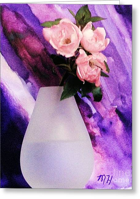 Three Feminine Roses Greeting Card by Marsha Heiken