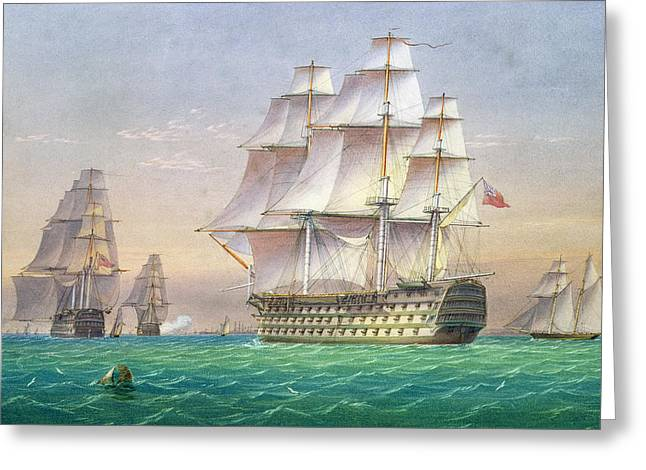 Sea And Sky Greeting Cards - Three first rate ships of the line entering Portsmouth harbor Greeting Card by William and John Joy