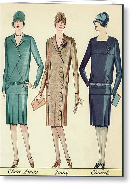 Three Flappers Modelling French Designer Outfits, 1928 Greeting Card by American School
