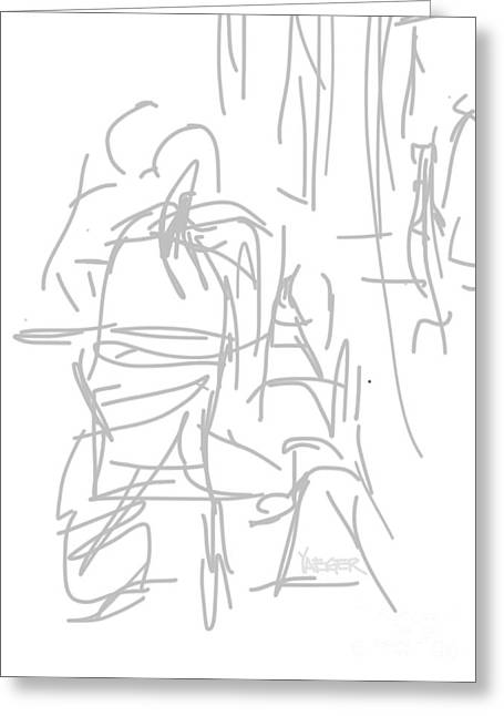 Table Wine Drawings Greeting Cards - Three for Breakfast  Greeting Card by Robert Yaeger