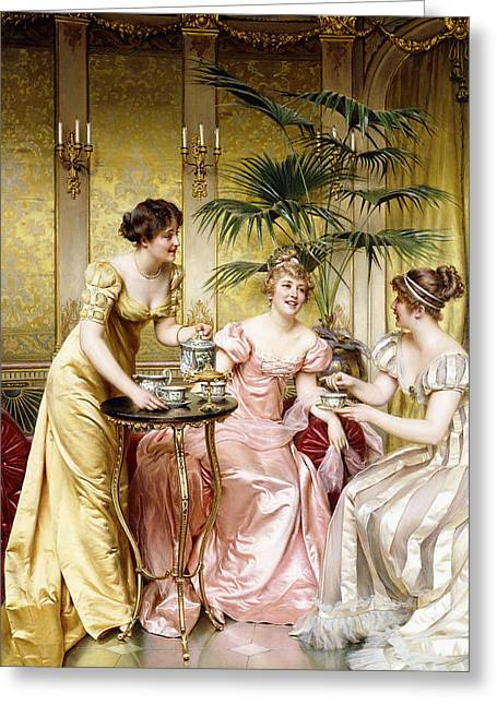 Coffee Drinking Paintings Greeting Cards - Three for Tea Greeting Card by Joseph Frederic Charles Soulacroix
