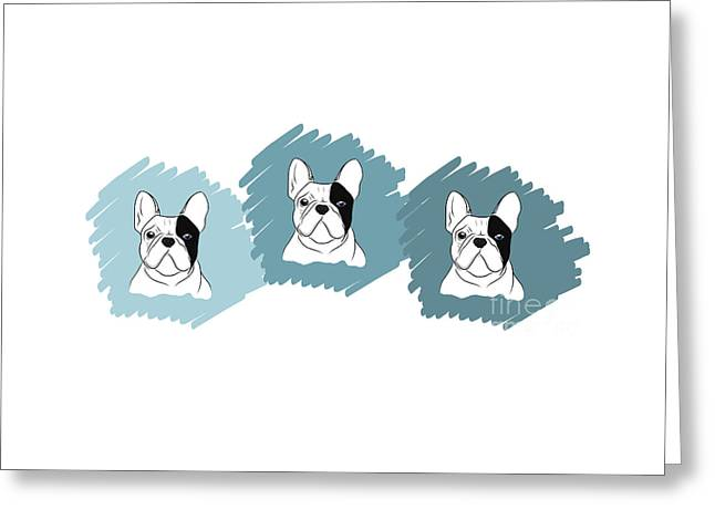 Puppies Drawings Greeting Cards - Three Frenchies  Greeting Card by Rachel Barrett