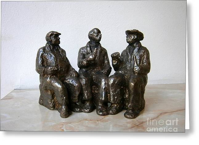Realism Sculptures Greeting Cards - Three friends Greeting Card by Nikola Litchkov