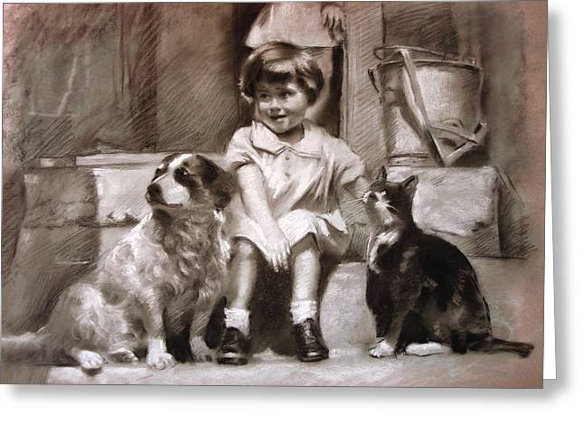 Child Pastels Greeting Cards - Three Friends On The Doorstep Greeting Card by Ylli Haruni