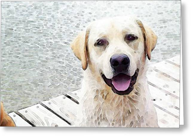 Retriever Prints Digital Art Greeting Cards - Three Friends Greeting Card by Sharon Cummings