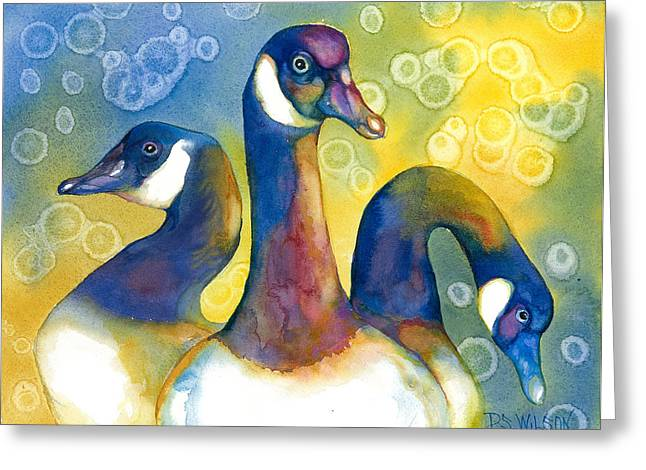 Three Geese Greeting Card by Peggy Wilson