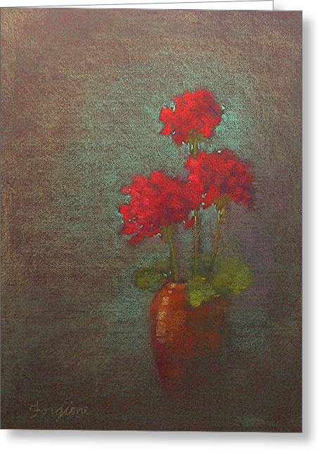 Red Geraniums Greeting Cards - Three Geraniums Greeting Card by Tom Forgione