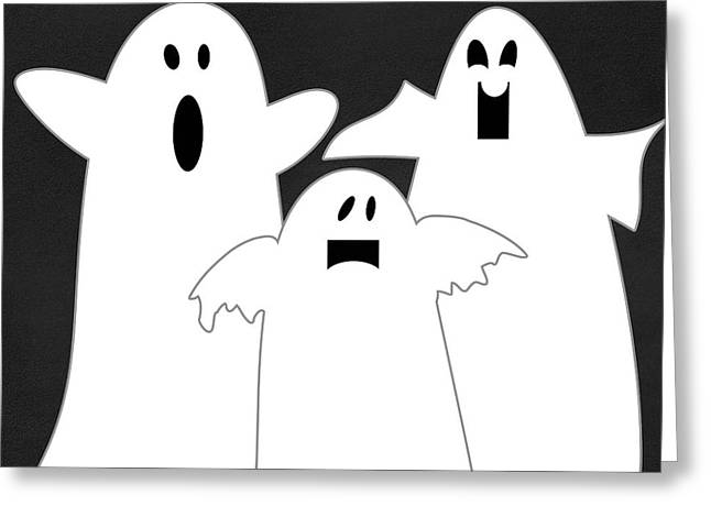 Ghost Greeting Cards - Three Ghosts Greeting Card by Linda Woods