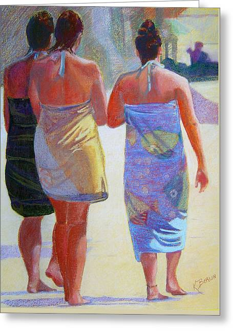 Scenic Pastels Greeting Cards - Three Girls on the Beach Greeting Card by Katherine  Berlin