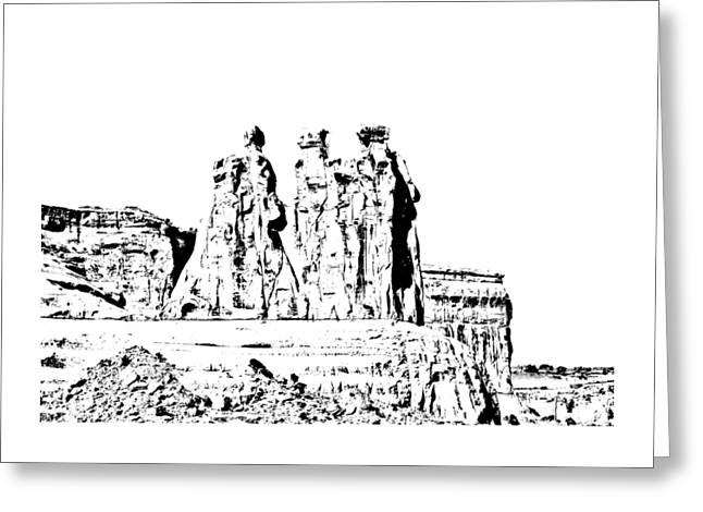 Short Sleeves Greeting Cards - Three Gossips Drawing Greeting Card by John Bailey