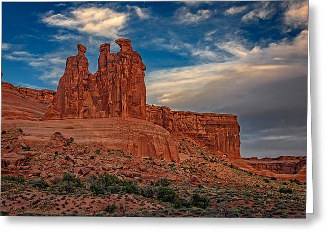Three Gossips In Arches Greeting Card by Rick Berk