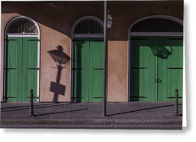 Nola Photographs Greeting Cards - Three Green Doors Greeting Card by Garry Gay