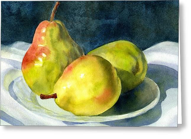 Three Green Pears Greeting Card by Sharon Freeman