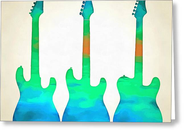 Pop Singer Greeting Cards - Three guitars Greeting Card by Edward Fielding