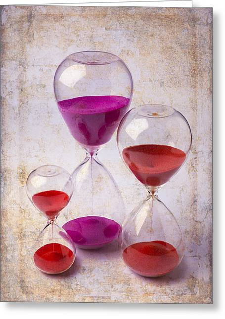 Granular Greeting Cards - Three Hourglasses Greeting Card by Garry Gay