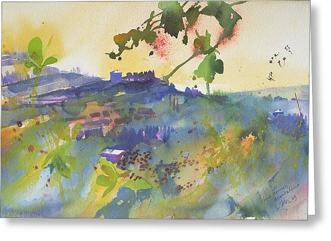 Mediterranean Landscape Drawings Greeting Cards - Three houses Montalcino  Italy Greeting Card by Simon Fletcher