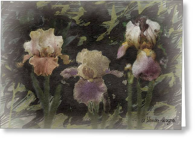 Iris Digital Art Greeting Cards - Three Iris Greeting Card by Arline Wagner