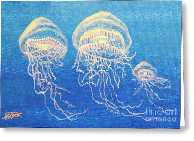 Jelly Fish Greeting Cards - Three Jellies Greeting Card by Fred-Christian Freer