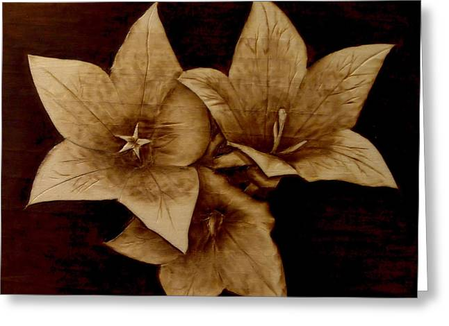 Woodburnings Pyrography Greeting Cards - Three Greeting Card by Jo Schwartz