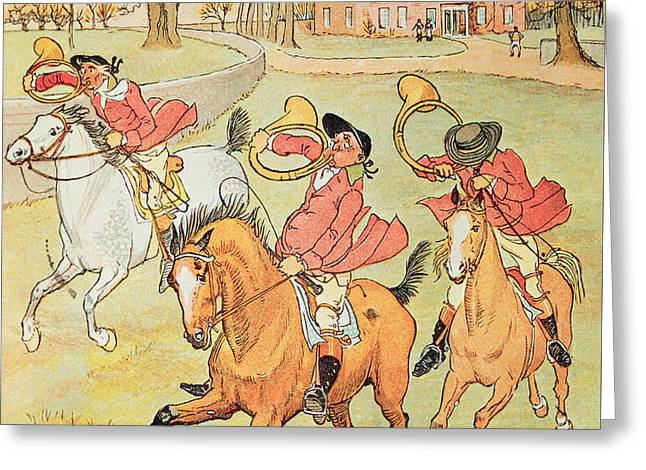 Three Jovial Huntsmen Greeting Card by Randolph Caldecott