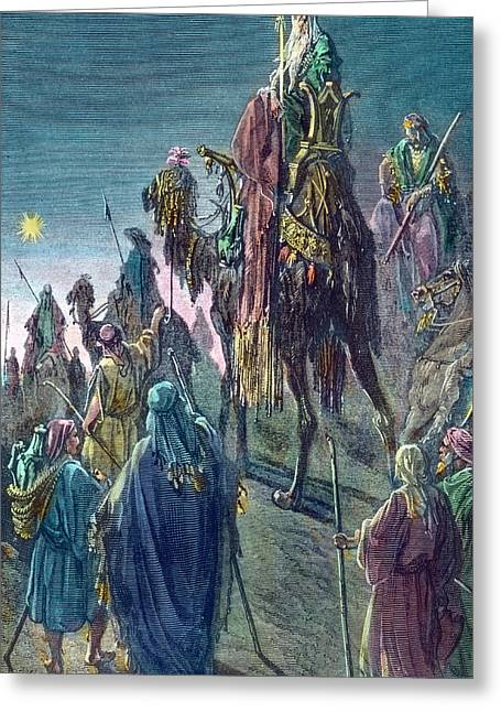 Three Kings  Christmas Card Greeting Card by Gustave Dore