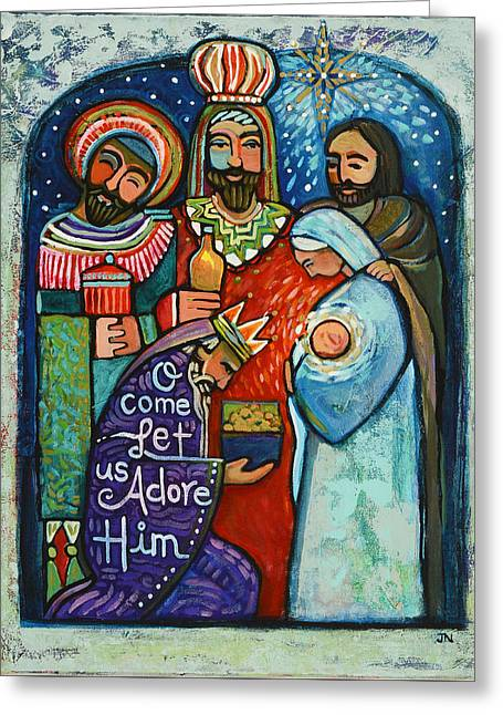 Three Kings O Come Let Us Adore Him Greeting Card by Jen Norton