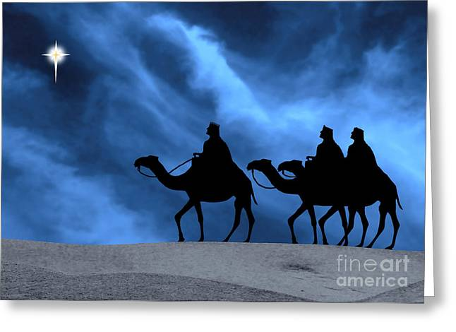 Three Kings Travel by the Star of Bethlehem - Midnight Greeting Card by Gary Avey