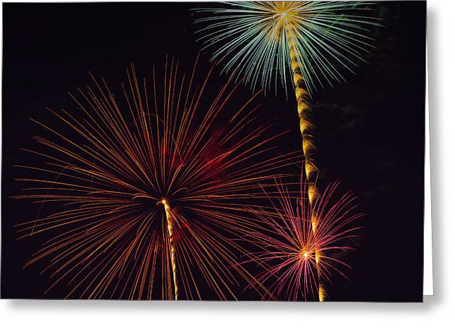 Pyrotechnics Greeting Cards - Three  Greeting Card by Larry Helms