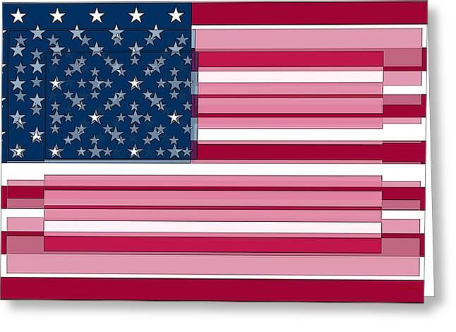 Pledge Of Allegiance Greeting Cards - Three Layered Flag Greeting Card by David Bridburg