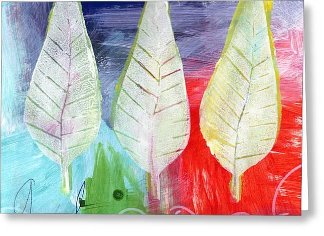 Green Abstract Greeting Cards - Three Leaves Of Good Greeting Card by Linda Woods