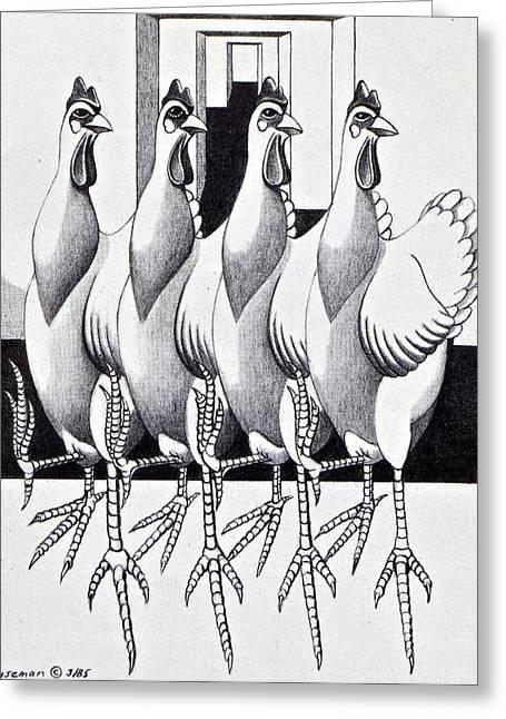Editorial Drawings Greeting Cards - Three Legged Dancing Chickens Greeting Card by John Houseman
