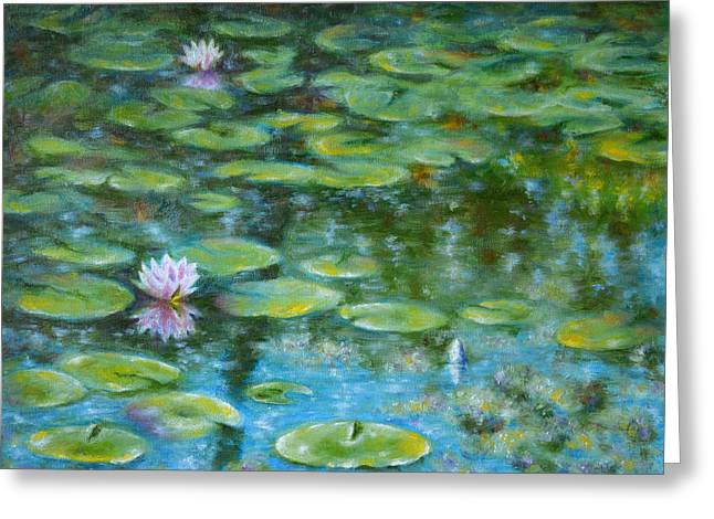 Impressionist Greeting Cards - Three Lilies Greeting Card by Evgeni Bazelevski