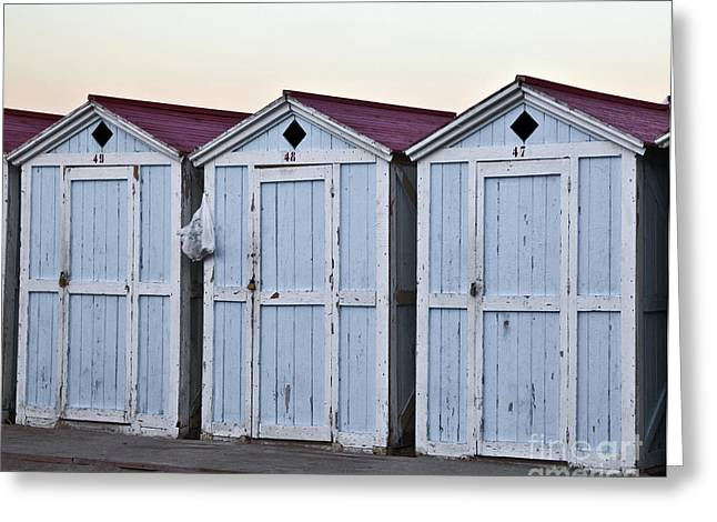 Cabana Greeting Cards - Three Modello Beach Cabanas Greeting Card by Madeline Ellis
