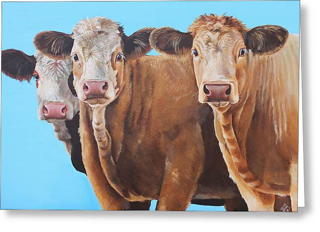 Three Cows Greeting Cards - Three Moosketeers Greeting Card by Laura Carey