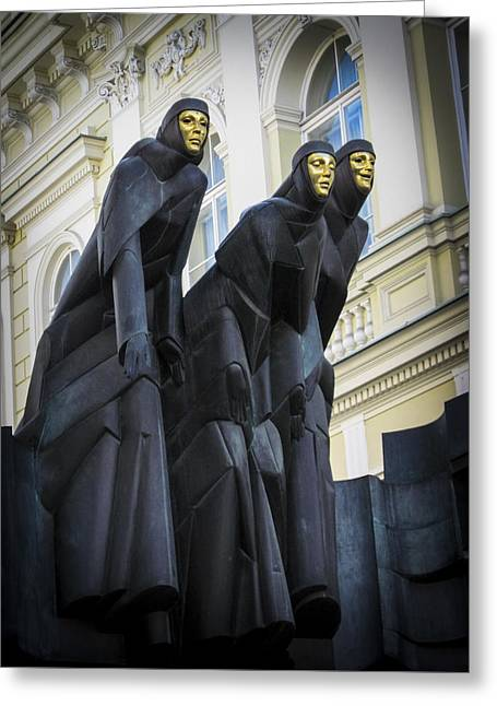 Lithuania Greeting Cards - Three Muses - Calliope Thalia and Melpomene Greeting Card by Mary Lee Dereske