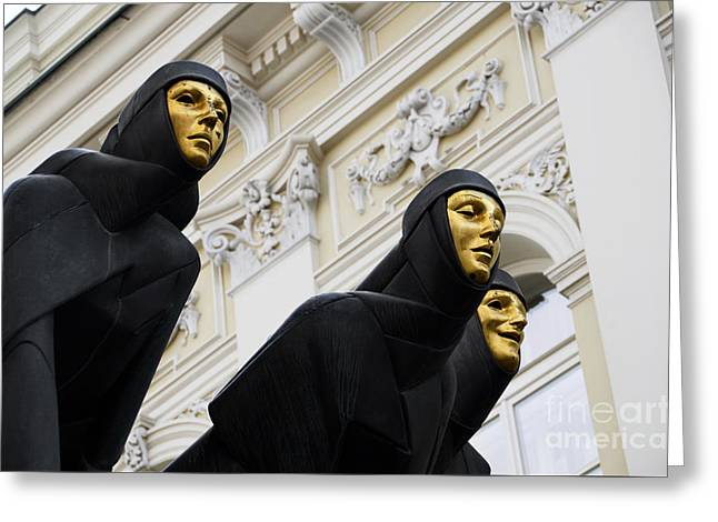 Lithuania Greeting Cards - Three Muses on the Lithuanian National Dramatic Theatre in Vilnius Greeting Card by RicardMN Photography