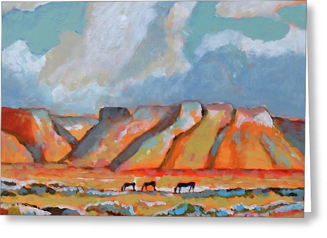 Three Mustangs Greeting Card by Kip Decker